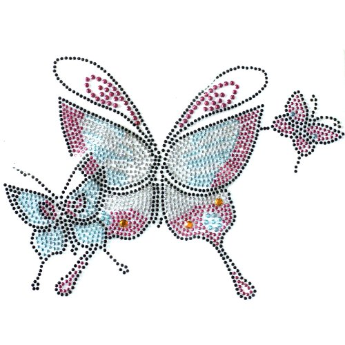 ransfer Hot Fix Motif Crystal Fashion Design Pink Butterfly 3 Sheets 8 5.7 Inch ()