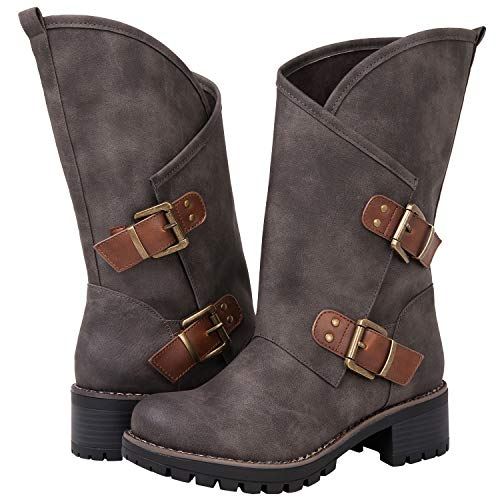 GLBALWIN Women's 18YY01 Grey Fashion Boots