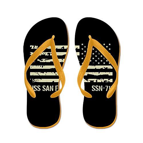 Cafepress Uss San Francisco - Flip Flops, Roliga Rem Sandaler, Strand Sandaler Apelsin