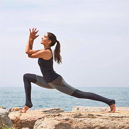 HARRYSTORE Mujer pantalones deportivos y elástico de yoga con cuadrícula mujer Polainas Fitness