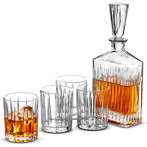 5-Piece European Style Whiskey Decanter and Glass Set - With Magnetic Gift Box - Exquisite Striped Design Liquor Decanter & 4 Whiskey Glasses - Perfect Whiskey Decanter Set for Scotch Alcohol Bourbon. (European Style Set)
