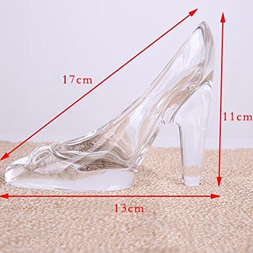 Da.Wa Crystal Cinderella High-Heeled Shoes Ornament Gifts Transparent Glass Decoration for Girl Coming-of-Age Ceremony Birthday Gifts