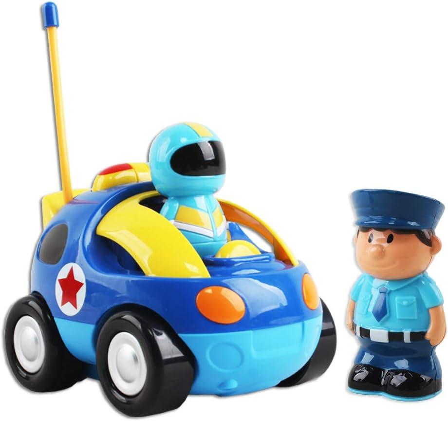 deAO Ferngesteuertes Cartoon Polizeiauto f/ür Kinder mit Licht und Musik 2 Fahrer inklusive