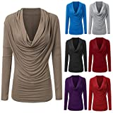 POHOK Women Fashion Long Sleeve Cowl Neck Autumn Winter T Shirt Outwear Tops