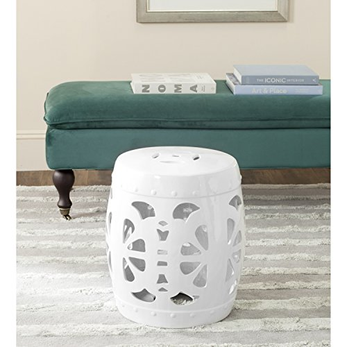 Safavieh Castle Gardens Collection Stencil Blossom Antique White Glazed Ceramic Garden Stool (Garden White Stool Ceramic)