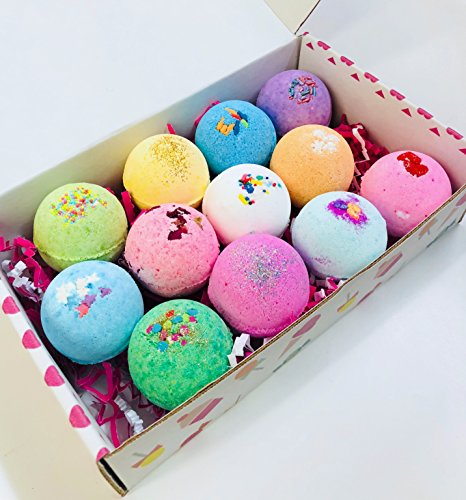 Feeling Smitten - Baker's Dozen Vegan & Natural Bath Bombs Set of 12 - Soothes Muscles, Softens Skin, and Relieves Stress, Perfect for Bubble & Spa Bath. Handmade Birthday, Gift Ideas