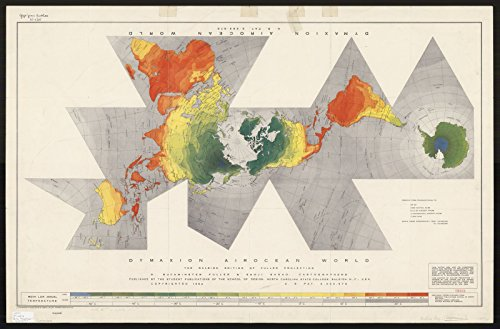 Historic Map | World map 1954 | Dymaxion airocean World : The Raleigh Edition of Fuller Projection | Antique Vintage Reproduction 24in x 16in