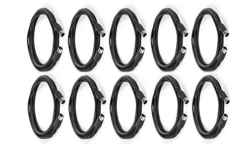 eDragon 10 Pack MIDI Cable with 5 Pin DIN Plugs, 15 Feet, - Black by eDragon