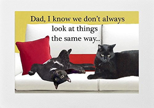 or Dad, Handmade, Father's Day, Birthday, Any Day, Black Cat Art by Deborah Julian (Fdc Envelope)