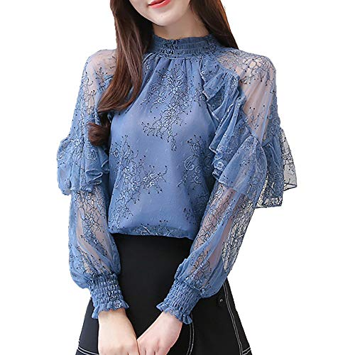 SansoiSan Womens Lace Chiffon Blouses Long Sleeve Turtleneck Elegant Patchwork Ruffles Chic Tops (Blue, Medium)