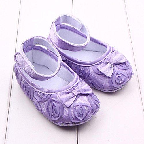 Tefamore Zapatos Bebé Embroma Los Recién Nacidos Del Paño Del Bowknot De Flor Rose Niñas Niño Pequeño Morado