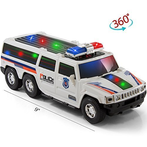 bump and go super police car kidsthrill suv with lights and sirens spins 360 degrees big model vehicle changes direction on contact best for kids