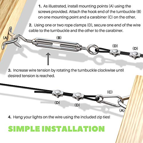 String Light Hanging Kit with Zip Ties For Easy Professional DIY Installation of Indoor and Outdoor Globe Lights | 164 feet Stainless Steel Vinyl-Coated Wire Cable With Heavy-Duty Mounting Hardware by Marquette Premium Hardware (Image #5)