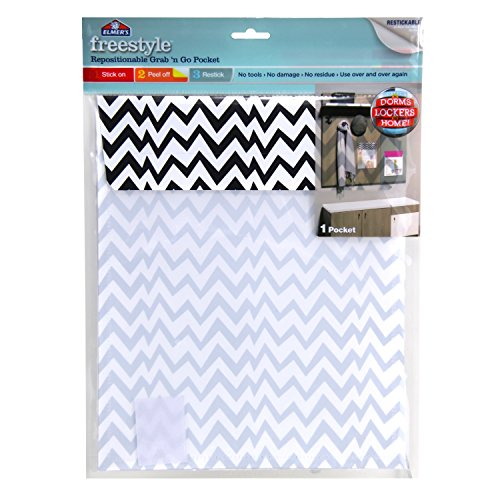 Elmer's Freestyle Repositionable and Reusable Adhesive Grab & Go Pocket, Black & White Chevron, E6359