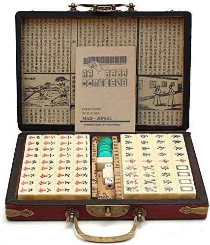 AUKBEC Números Mahjong Juego Chinos portátil Mah Jong Juegos Tradicionales Juguetes, 144 PC de Mesa Fino con Mini Profesional Antideslizante de la Tabla Family Club Reuniones Juego de Puzzle: Amazon.es: Hogar