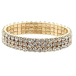 Gold Rhinestone Crystal 3 Row Stretch Bracelet