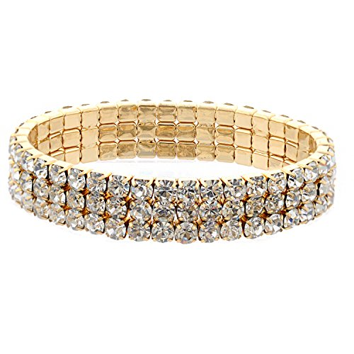 Topwholesalejewel Wedding Bracelet Gold Crystal Rhinestone 3 Row Stretch Bracelet