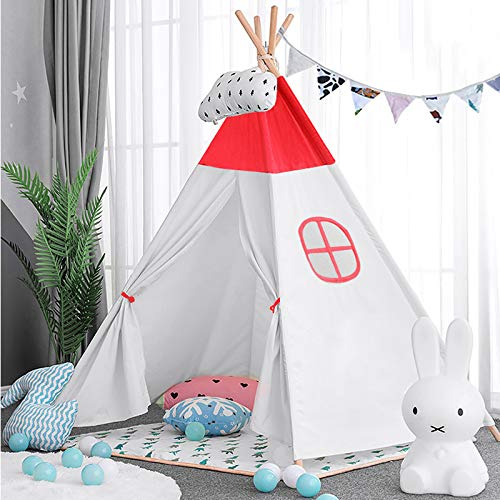 Reliancer Kids Teepee X-Large Portable Play Tent with Ventilated Window 5.25FT Indoor Outdoor 100% Cotton Canvas Play House Foldable Indian Tipi Tents Playhouse for Toddler Kids Boys Girls(Red)