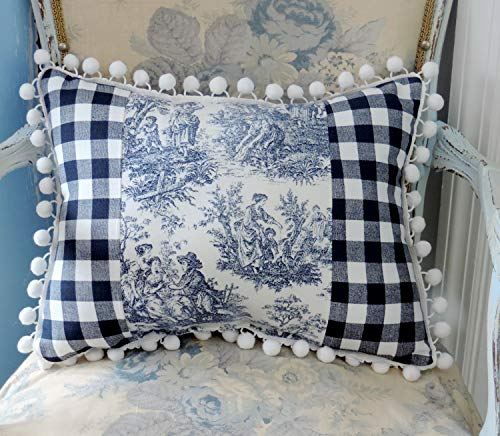 Handmade Country French Blue Toile Accent Pillow, Elegant French Pillow or Cushion, Parisian Home Decor