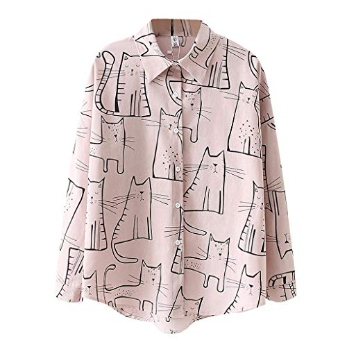 [해외]Meikosks Womens Blouses Cat Print Shirt Korean Tops Long Sleeve Tunic Loose Casual Button Cardigan / Meikosks Womens Blouses Cat Print Shirt Korean Tops Long Sleeve Tunic Loose Casual Button Cardigan Pink