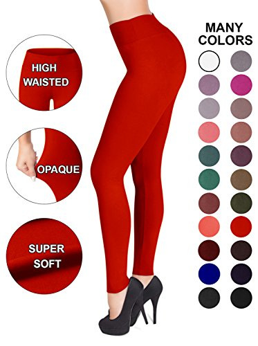 Leggings – 22 Colors – Super Soft Full Length Opaque Slim (One Size, Red) ()