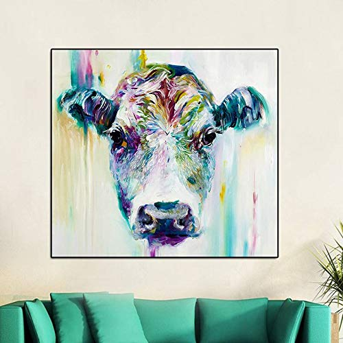 BFY Frameless Modern Abstract Oil Painting Female Ox-head Huge Wall Decor Art On Canvas by BFY (Image #4)