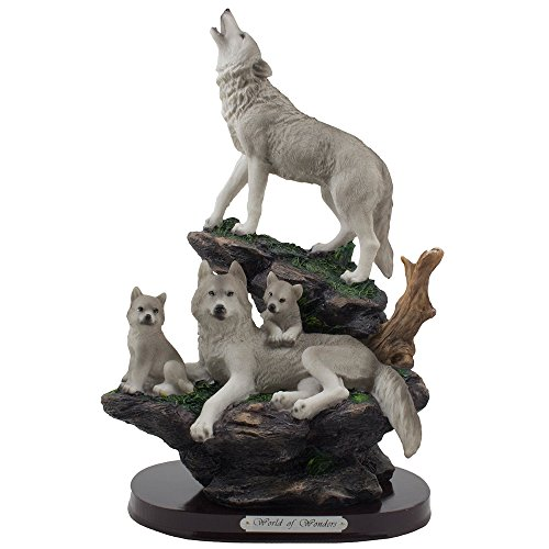 Howling Wolf Statue - Howling Wolf and Family on a Rock Statue for Decorative Lodge and Rustic Cabin Decor Sculptures and Figurines & Wildlife Animal, Wolves or Timberwolves Collectible Art Gifts