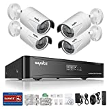 SANNCE 4CH HD 1080P POE NVR Home Surveillance System with 4pcs 1080P 100ft Night Vision Weatherproof Security Camera System (Power Over Ethernet, E-Cloud, 2.0 Mega pixels, IR Cut) - NO HDD