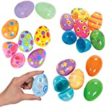 12 Fillable Plastic Easter Eggs In Bright Colors and Seasonal Prints - Ready To Fill and Hide - Durable Reusable Easter Eggs Save You Time - Perfect For Easter Baskets, Easter Egg Hunts, and Party Bag
