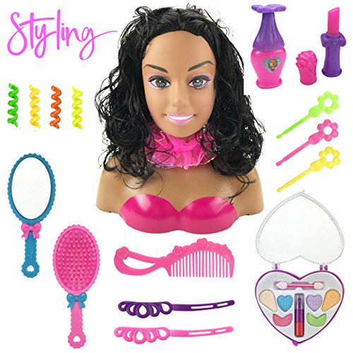 : Liberty Imports African American Black Styling Doll Head Girls Playset with Beauty and Fashion Accessories