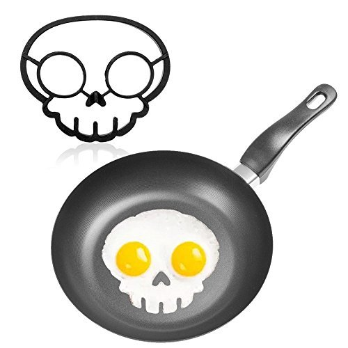 1PCS Fried Egg Mold Pancake Egg Ring Shaper Fun Cute Mold Breakfast Silicone Funny skull egg shaper Cooking - Black Absinthe Head
