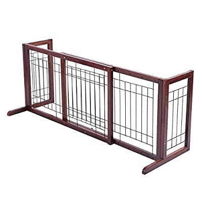 Giantex Wood Dog Gate Adjustable Indoor Solid Construction Pet Fence Playpen Free Stand