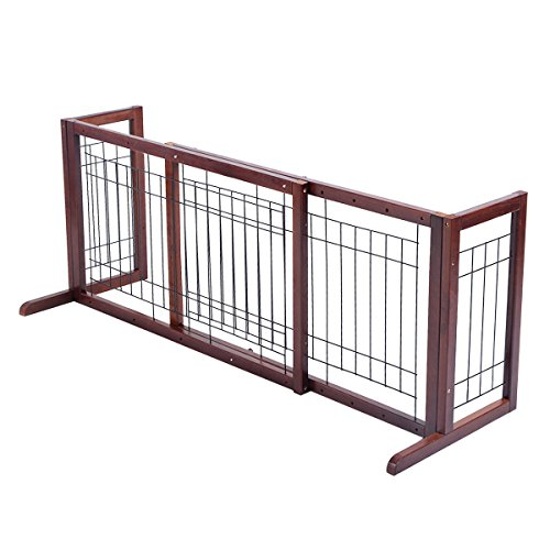 Giantex Wood Dog Gate Adjustable Indoor Solid Construction Pet Fence Playpen Free Stand by Giantex