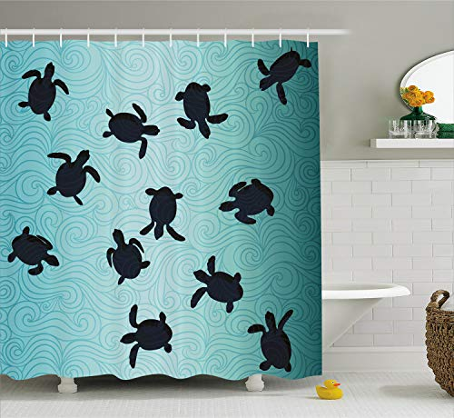Ambesonne Marine Shower Curtain, Baby Sea Turtles Swimming Silhouette from The Bottom of Ocean Underwater Display, Cloth Fabric Bathroom Decor Set with Hooks, 70