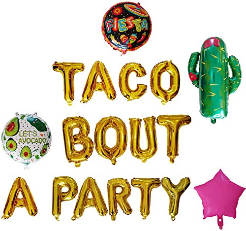 Exclusive party supplies. Taco bout a party Foil Balloons set. (18 pieces) Cactus balloon, taco party decorations, taco twosday birthday party, banner (Gold)