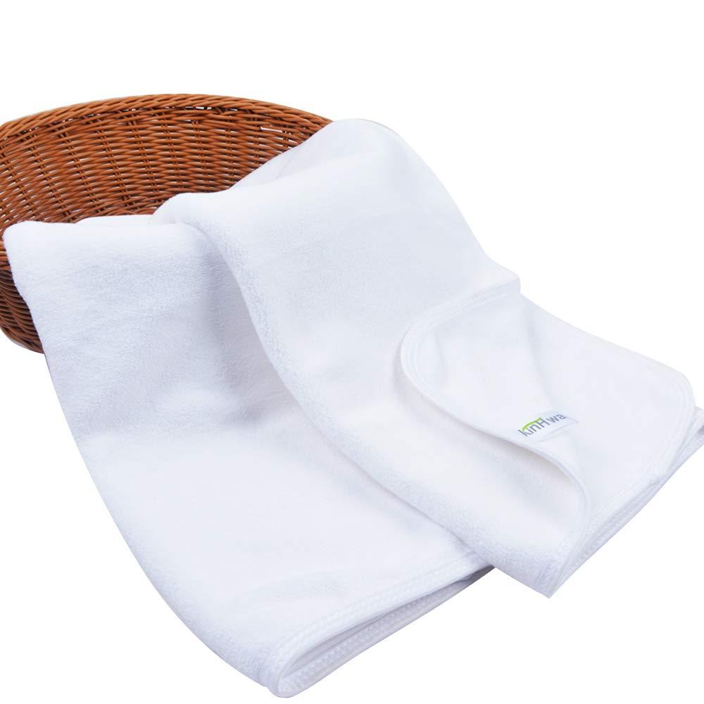 KinHwa Asciugamani Microfibra Durevole Asciugamani da Bagno Set di 2 40cm x 76cm Grigio/Bianca (Bianco, 2 Pack)
