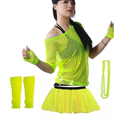 Rush Dance 80s Fancy Costume Set – TUTU, TOP, LEG WARMER, FISHNET GLOVES & BEADS (One Size, (Dirty Dancing Halloween Costumes)