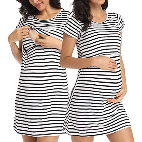 SLIMBELLE Camicia da Notte per Allattamento a Manica Corta da Donna con Camicia da Notte Incinta in Cotone a Righe Premaman