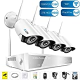 A-ZONE 4 Channel 960P NVR Wireless CCTV Security Camera System 1.0-Megapixel Weatherproof Wifi IP Surveillance Camera Kit With Night Vision Easy Remote Access, Including 2TB Hard Drive