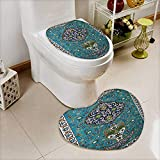 also easy Lid Toilet Cover predominantly blue glazed islamic tile mosaic design Machine-Washable