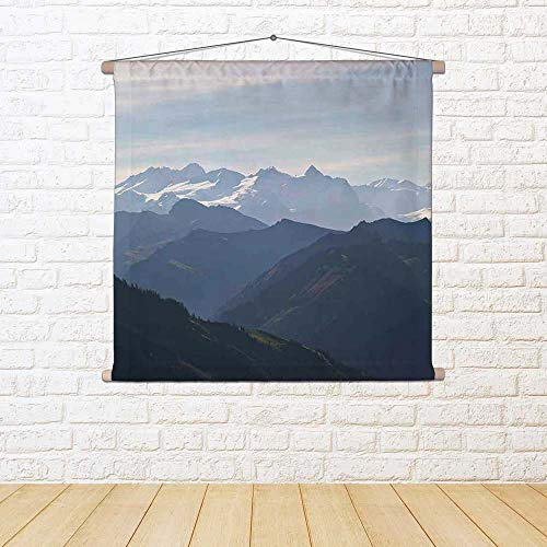 ArtzFolio Aerial View Over The Swiss Alps Satin Painting Tapestry Wall Hanging 30.7 X 20.5Inch