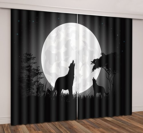 LB Wolf Window Curtains for Bedroom Living Room,Wolf Howling To The Moon at Black Night Teen Kids Room Darkening Thermal Insulated Blackout Curtains Drapes 2 Panels,28 by 65 inch Length