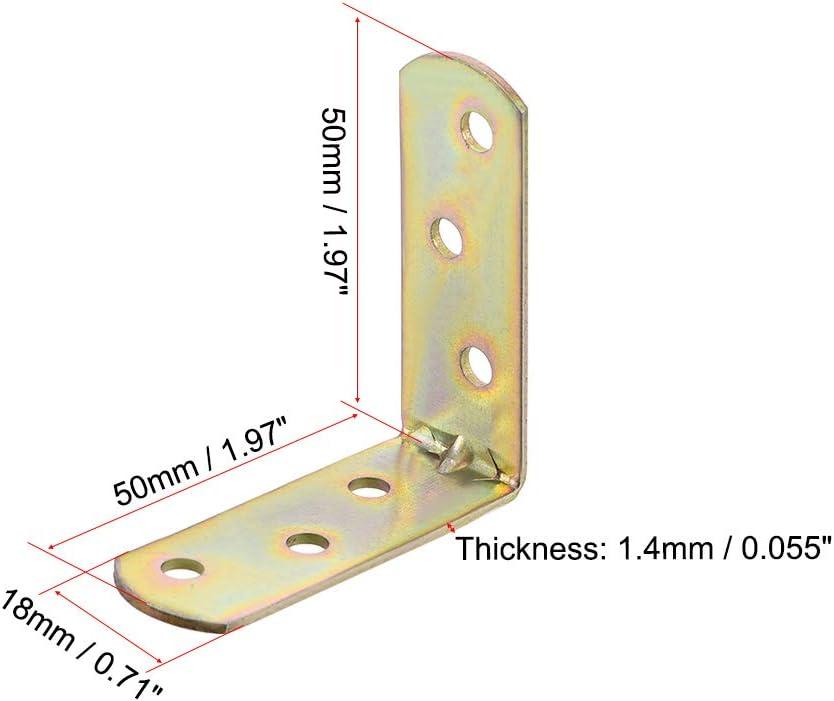 30 ud. sourcing map Abrazadera de esquina 50mm x 50mm Sujetador de soporte de /ángulo recto de Junta chapada en zinz