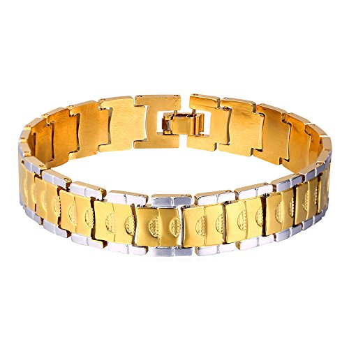 U7 Steampunk Style 2-Tone Men's 18K Gold Plated Stainless Steel Chain Bracelet, 9 inches