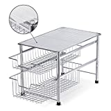 NEX 2-Tier Sliding Basket Organizer Drawer Under Sink Cabinet Kitchen Storage Drawers Bathroom Organizer, Plating