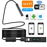 Yugoo Wifi Endoscope 1200P HD Wifi Borescope Inspection Camera with 2.0MP, IP68 Waterproof Semi-Rigid Flexible Snake Camera and 8mm Lens for IOS and Android, iPhone, Samsung, Tablet- New Version16.5FT