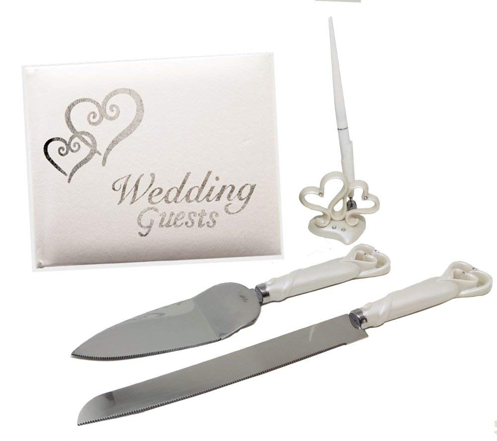 Wedding Decorations for Reception, 4-Piece Silver and White Hearts Accessory Set Includes Guest Book, Cake Cutting Knife, Cake Server, and Guest Book Pen