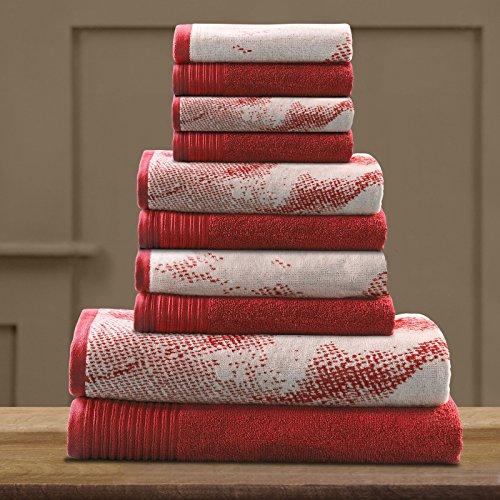 Brayden Studio Marble Effect Cotton Towel (Set of 10) (Terra Cotta) - 30' Double Towel Bar