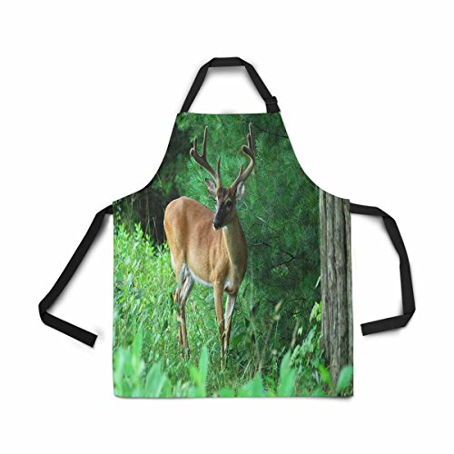 InterestPrint Adjustable Bib Apron for Women Men Girl Chef with Pockets, Buck Deer Summer Antlers Smoky Mountain National Park Novelty Kitchen Apron for Cooking Baking Gardening Pet Grooming Cleaning Smoky Mountain Deer