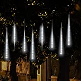 Topist Falling Rain Decoration Lights, Waterproof LED Meteor Shower Lights with 30cm 8 Tube 144 LEDs, Icicle Snow Fall String Cascading Lights for Party, Holiday, Xmas Tree, Garden Decoration (White)